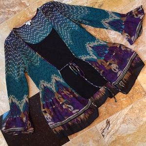 Nicola 1-pc jacket/blouse combo/ accordion fabric